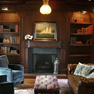 Dark timber, man's den. My hubby will have a cigar room in ...