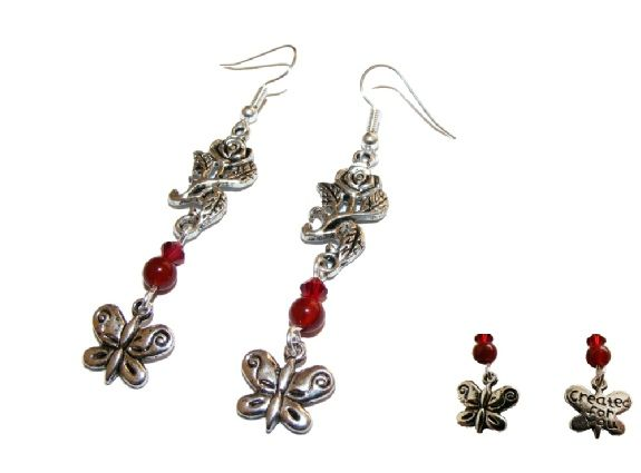 Red Carnelian and Swarovski Crystal Rose and Butterfly Earrings £6.99