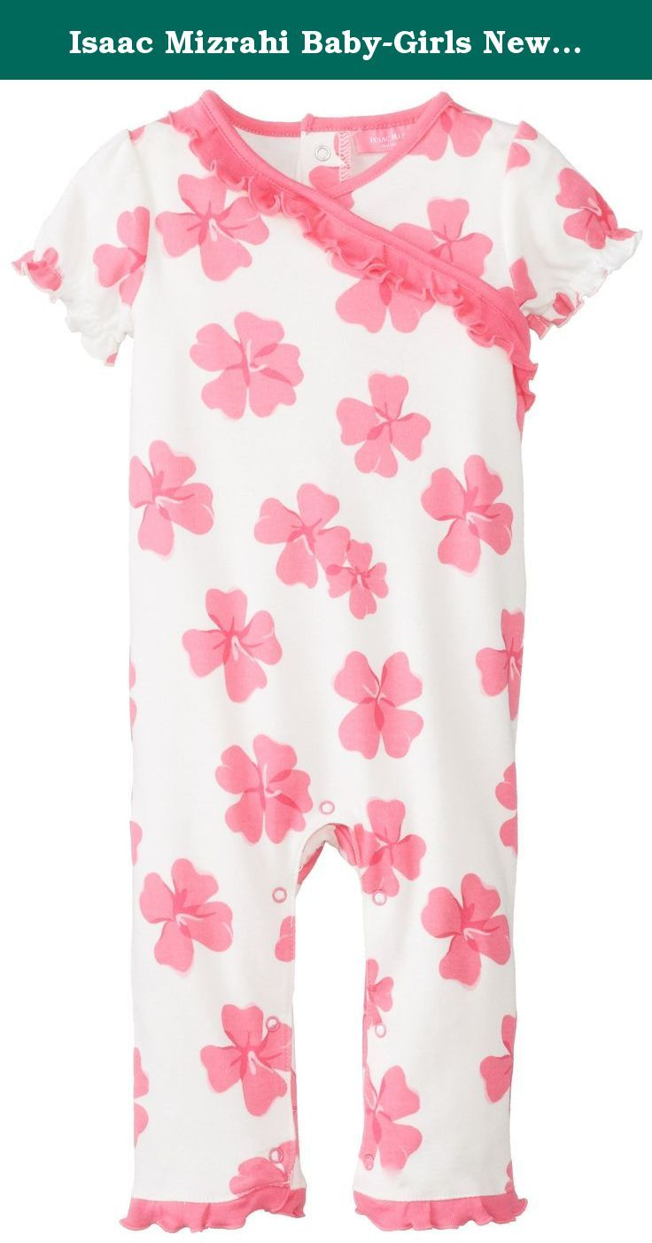 Isaac Mizrahi Baby-Girls Newborn Short Sleeve Coverall with Ruffle Trim, Multi, 0-3 Months. Inches cotton short sleeve bodysuit with 3 satin bows, tulle tutu, lap shoulder neck opening with picot stitch detail, and 3-snap closure at inseam for easy on off dressing.