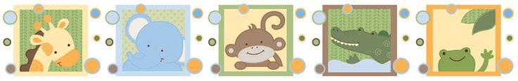 monkey wall border | Monkey Giraffe Elephant Frog Jungle Animals Nursery Baby Border Decals ...