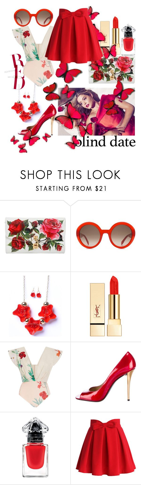"""red blind"" by nineseventyseven ❤ liked on Polyvore featuring Dolce&Gabbana, Alexander McQueen, PUR, Johanna Ortiz, Stuart Weitzman, Guerlain, Chicwish, red, Flowers and blinddate"