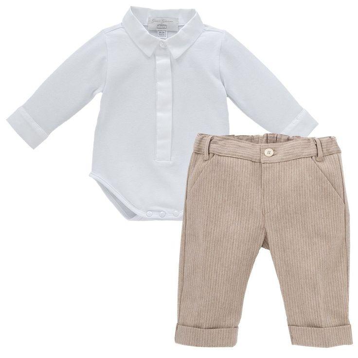Infant Boy's 2-Piece Set: White Long-Sleeve Bodysuit & Pleated Pants