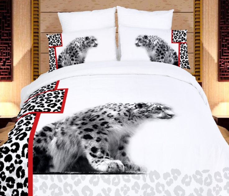 White Cheetahs 6PC Duvet Cover Set (Full/Queen Size)