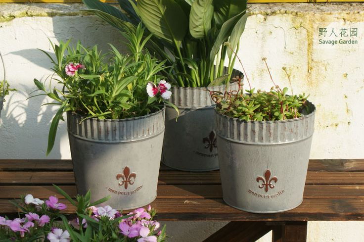 пн Пети Jardin мой маленький сад, чтобы сделать старый металлический цветочный горшок ретро выход цветок садоводство Франция - глобальная станция Taobao