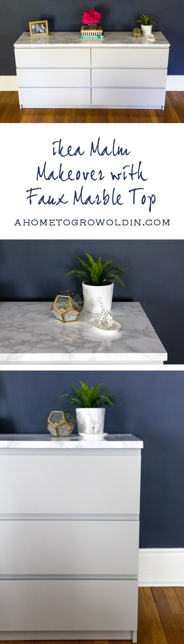 An easy Ikea hack to update your Malm dresser! Great tips on painting laminate furniture as well as how to apply a faux marble top. Check out the before and after pictures of this DIY project! FOR THE VANITY TOP?