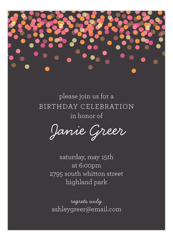 Charcoal Falling Confetti Invitation