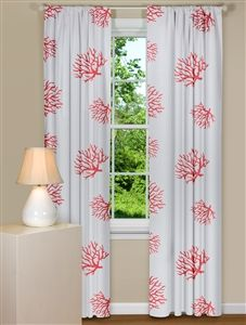 Beach Themed Curtain Panels With Coral Design