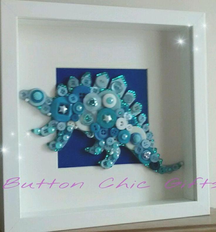 Embellished blue stegosaurus dinosaur button art picture in box frame