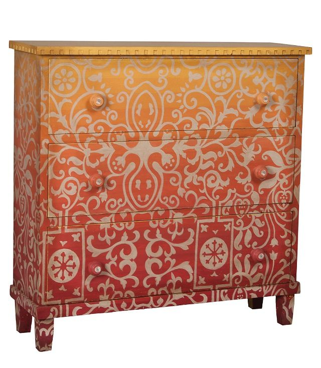 Ombré red, orange, gold painted chest with cream stencil overlay design