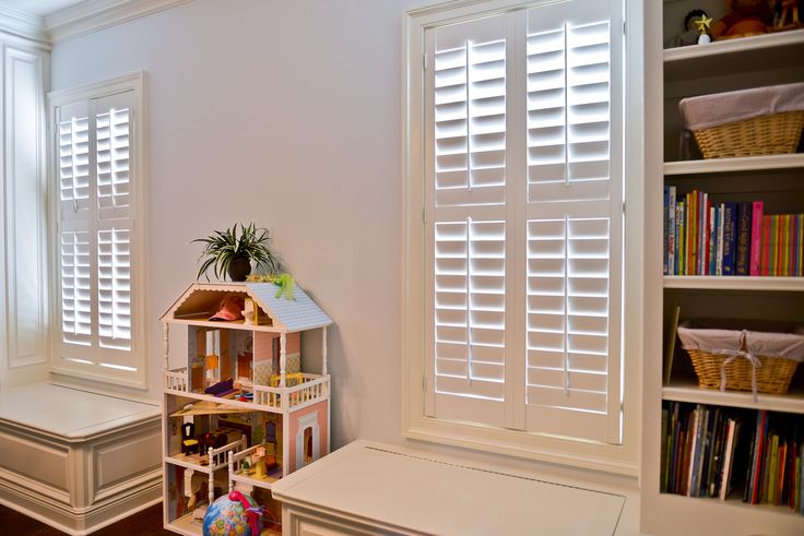 Plantation shutters are kid friendly and safe. They are so perfect in this wonderful play room.
