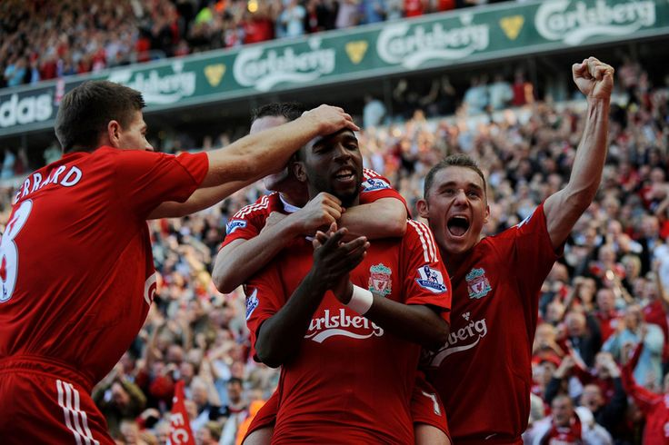 Ryan Babel bags a rare goal for Liverpool against M.United at Anfield in 2008