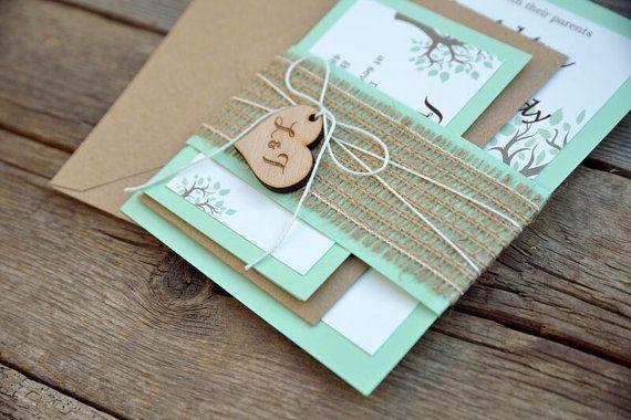 Rustic Wedding Invitation Mint Green by therusticinvitation