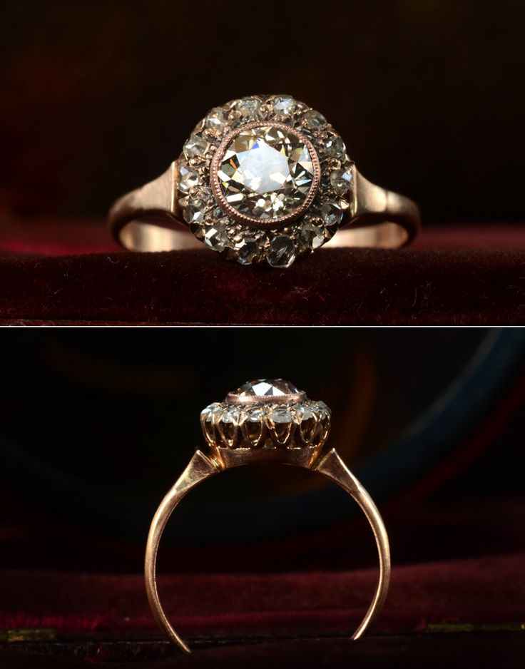 1890s Victorian Rose Cut Diamond 14K Ring 0.82ct Old European Cut Diamond Center (Light Yellow Color, SI3 Clarity). I love the profile of this.