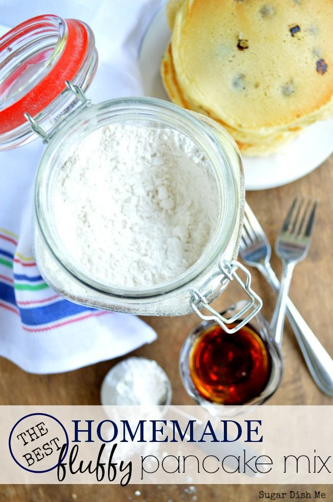 Homemade Fluffy Pancake Mix - 1 cup of this mix + 1 cup milk + 1 egg = the best, fluffiest pancakes EVER!
