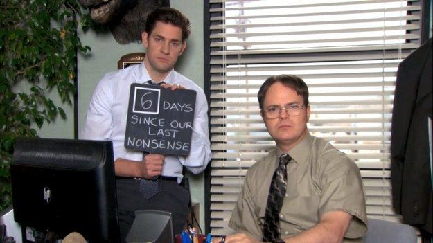 "When they had a nonsense counter. | 27 Times Jim And Dwight Were Perfect Frenemies On ""The Office"""