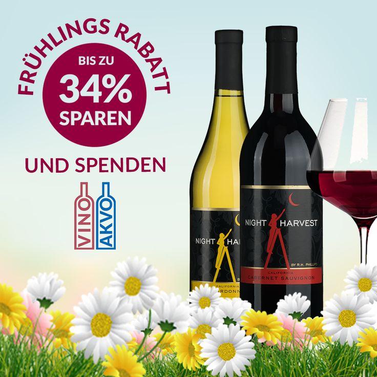 Frühlings-SALE bei https://vinoakvo.de! Tolle Weine bis 34% reduziert! z.B. NIGHT HARVEST CHARDONNAY oder CABERNET SAUVIGNON: statt 9,40 € jetzt nur noch 6,25 € Nur solange der Vorrat reicht. Weinkaufen mit Mehrwert bei vinoakvo.de #weinzuwasser #vinoakvo #rabatt #wein #sparen #spenden