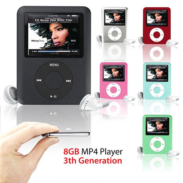 "MP3 Player 8GB 1.8"" LCD Media Video radio FM 3th Generation 6 Colors A57"