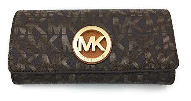 abbc183ef4f6be Amazon.com: MICHAEL Michael Kors Women's FULTON Flap Continental Leather  printed Wallet (Black/darkBrown): Clothing