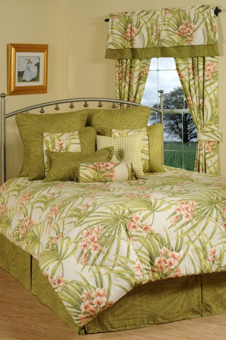 Sea Island Green Amp Peach Tropical Bedding Comforter Ensemble