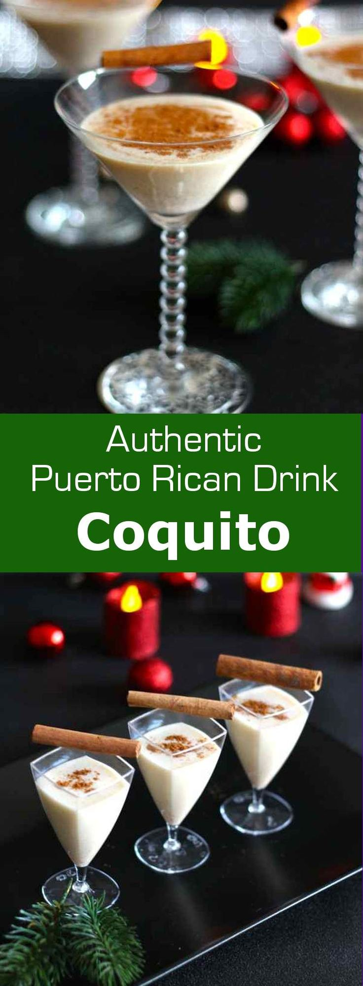 Coquito is the traditional Puerto Rican Christmas drink that is no other than an eggnog with rum flavored with coconut. #christmas #puertorico #drink #196flavors