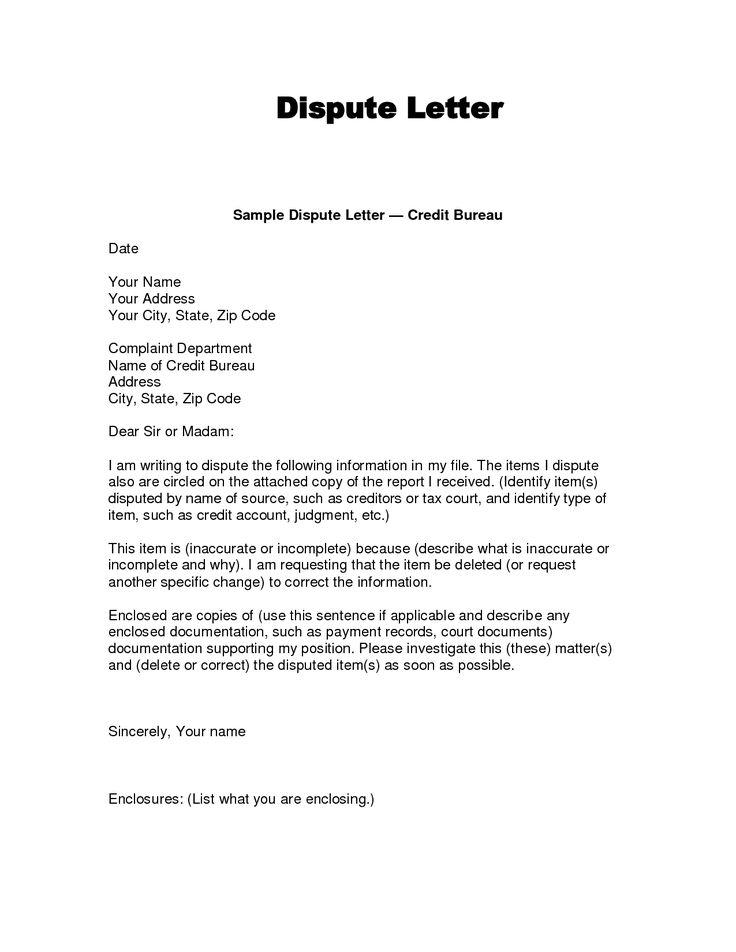 writing dispute letter format Credit bureaus, Dispute