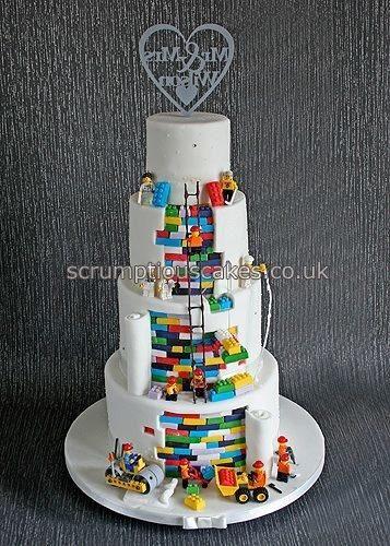 Plain front and Lego back Wedding Cake