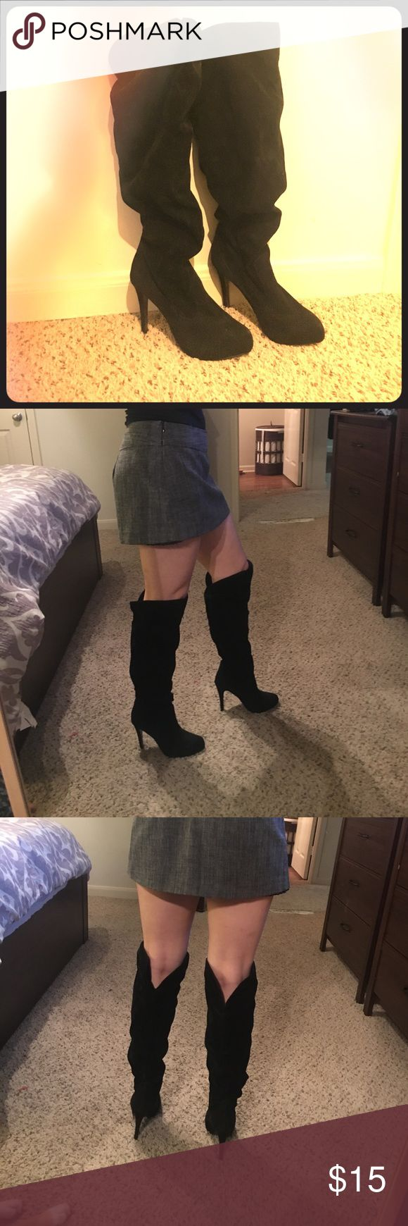 Over the knee boots size 7 Black, 3 inch, over the knee velvet material boots size 7. Never been worn, wasting away in my closet in need of a new loving home 😊 It first loosely to create a textured/scrunchie look around the calves. Take them away from me ladies!! Shoes Over the Knee Boots