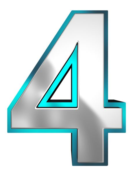 Metallic and Blue Number Four PNG Clipart Image