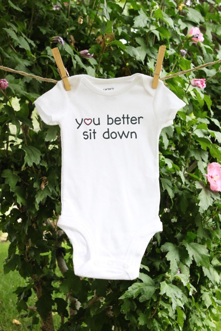 You better sit down New Daddy Gift, Pregnancy Reveal to Grandparents, or Baby Announcement bodysuit. The most fun and unique way to tell your man hes about to be a new dad!! It would also be great presented to the new grandparents. The pictures would be awesome! This bodysuit is embroidered. It can be machine washed and the pattern will never fade or peel off. An adorable Carters tagless bodysuit embroidered with a you better sit down design. 100% cotton, machine washable, new father…