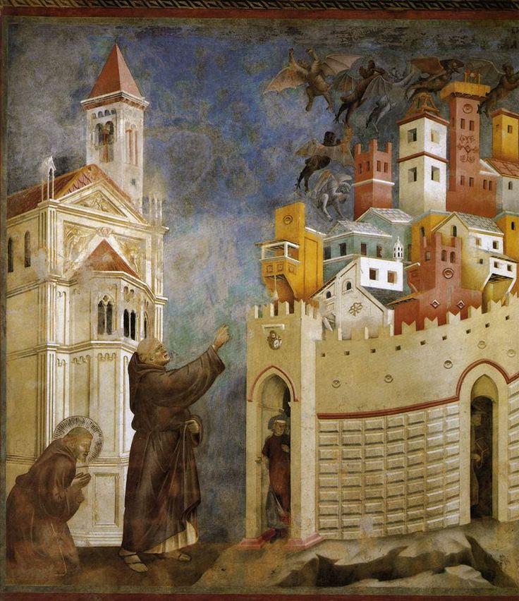Giotto di Bondone, la Vie de Saint-François d'Assise: (10) François chasse les démons de la ville d'Arezzo, fin du XIIIe siècle, Basilique Saint-François d'Assise.