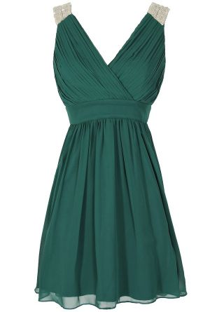 Stella Beaded Shoulder Chiffon Designer Dress in Hunter Green  www.lilyboutique.com