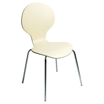 dwell - Curved wood dining chair cream - £39