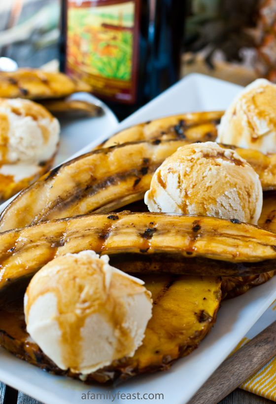 Grilled Bananas and Pineapple with Rum-Molasses Glaze - A quick, easy and impressive summertime dessert. WOW - this is delicious with ice cream!!!