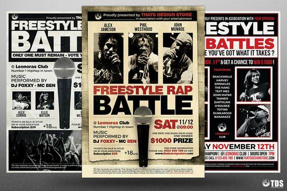 Freestyle Rap Battle Flyer Bundle V2 by Thats Design Store on @creativemarket