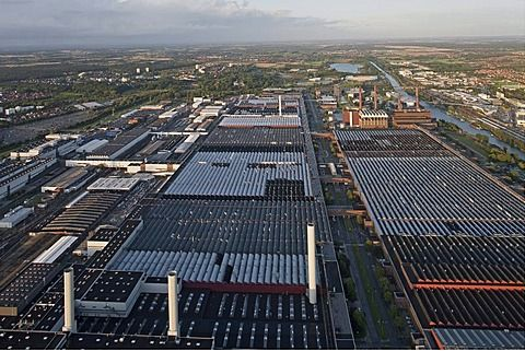 Aerial view of the Volkswagen plant with factory halls and canal, Wolfsburg, Lower Saxony, Germany - 1113-35674