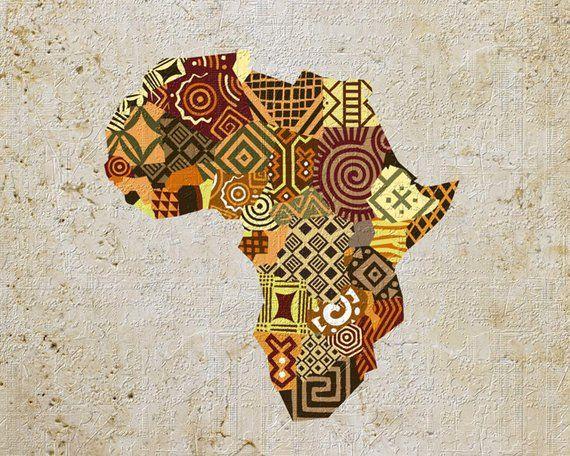 African Map Art African Print Map Decor African Wall Art | Etsy