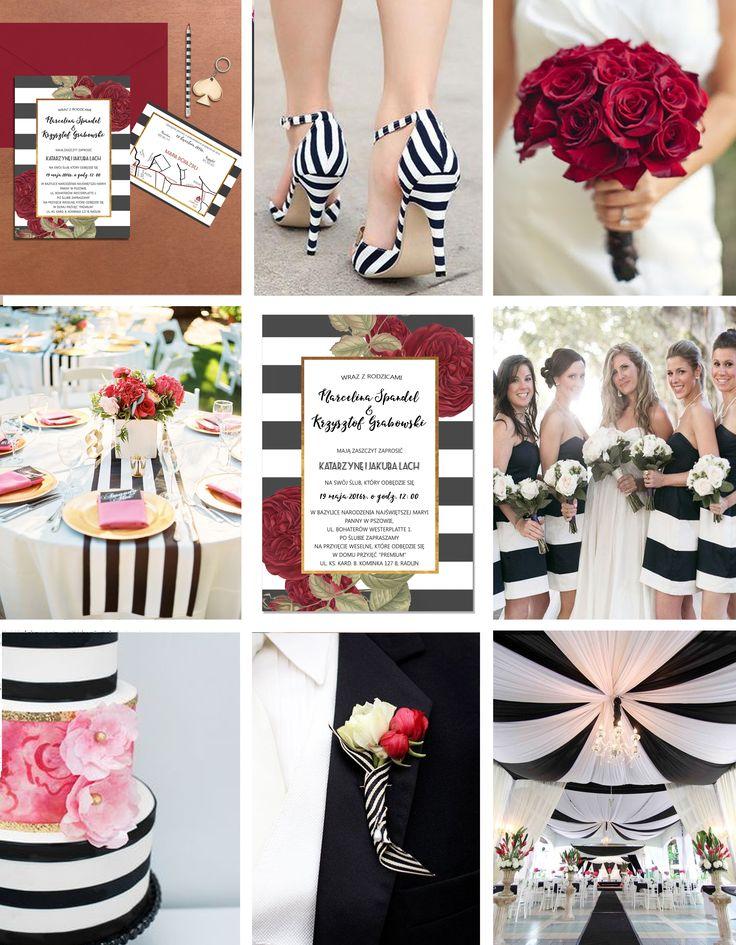 Inspiracje dla ślubu i w tonacji biało-czarnej i/lub z motywem róży. Black&white strips and red rose wedding inspiration  Źródło: zaproszenie - www.makaprints.pl/…/13,gotowe-pro…/17,stripes-with-gold.html bukiet - www.onewed.com stół - www.benqphotography.com Ben Q. Photography tort - Rachel Peters Photography butonierka - www.inkkc.com pozostałe - Pinterest