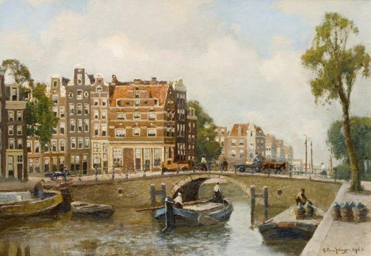 """Frederik van Schagen 1880-1968, """"Brouwersgracht met de z.g.n. Spaanse huizen"""". Olieverf op doek."""