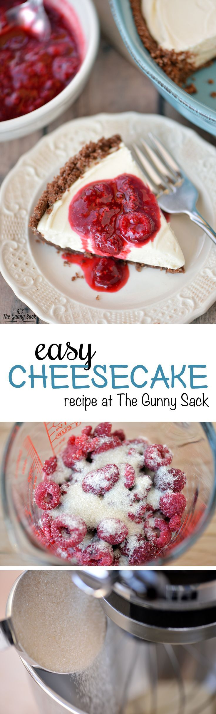 This easy cheesecake recipe with raspberry sauce is a favorite holiday recipe. It's a no bake cheesecake recipe with a chocolate graham cracker crust. | thegunnysack.com #ad