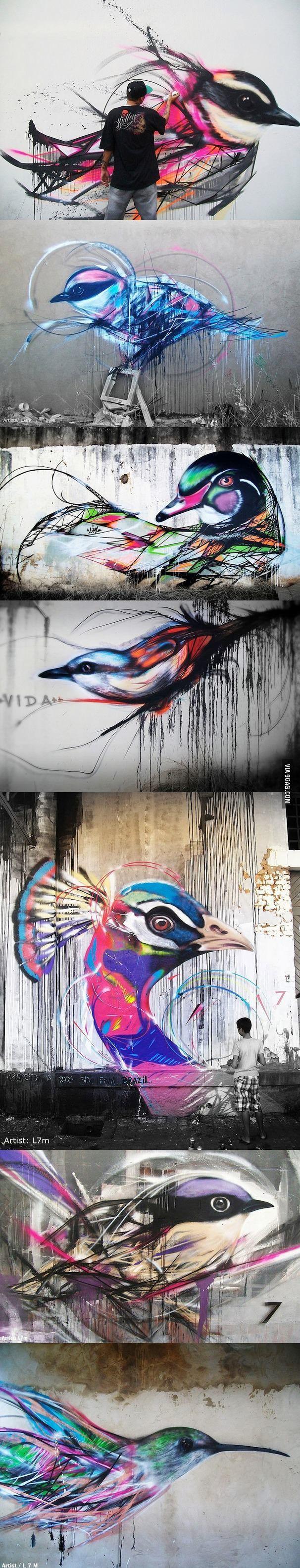 Un po di colore tra il grigio cittadino..Beautiful graffiti birds by Brazilian street artist L7m