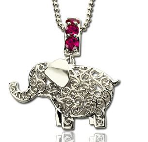 Elephant Charm Name Necklace with Birthstones sterling silver