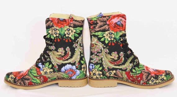 Urban boots Ankle Boho Flower Lace up Boots Urban shoes Boots