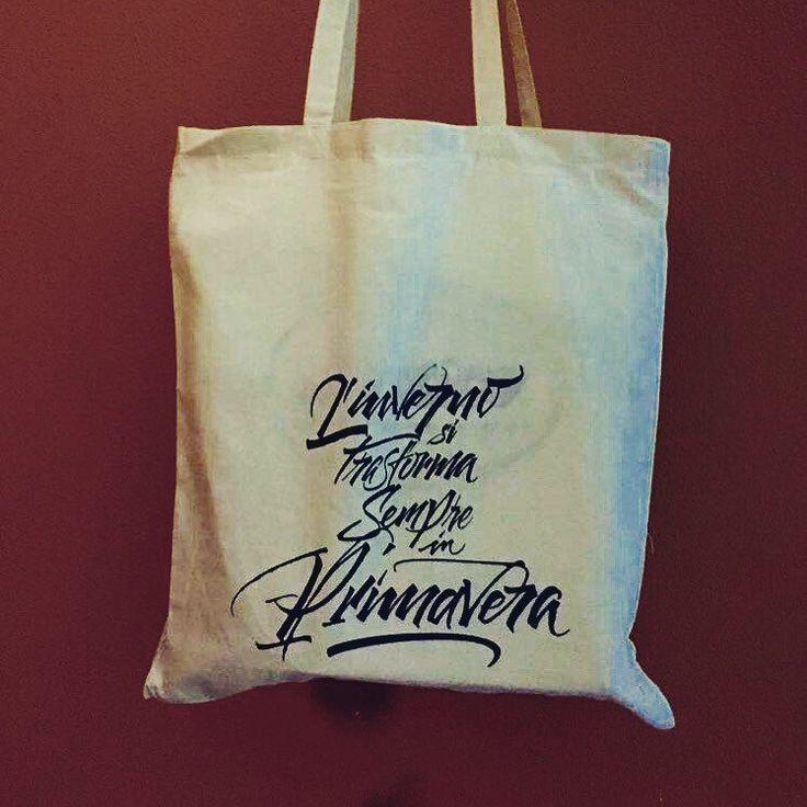 Eco bag adatta ad ogni occasione con frase buddista! Serigrafia a mano screen printing