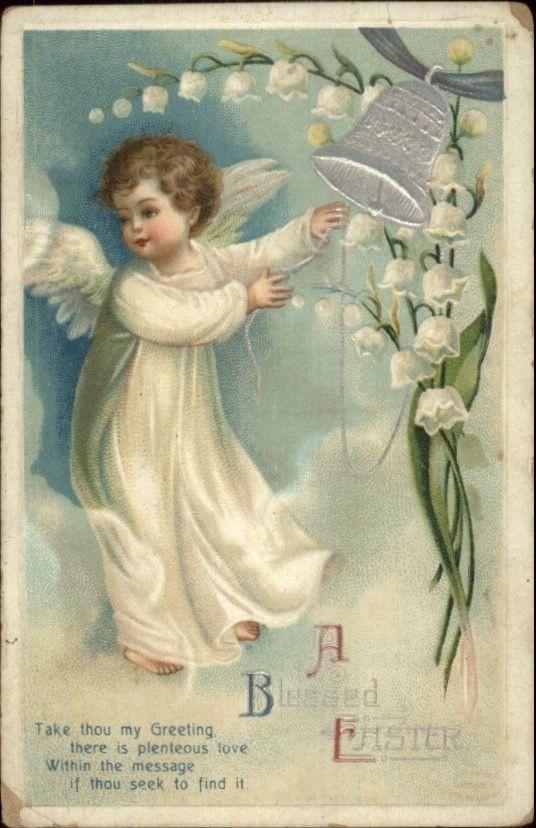 Easter - Angel Boy Ringing Bell - Unsigned Clapsaddle c1910 Postcard | eBay