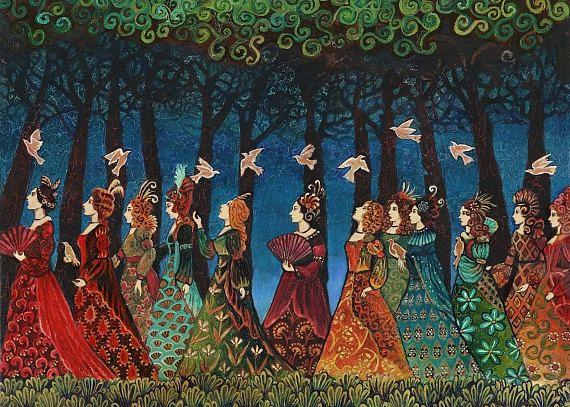 Dodici donne con uccelli - dea arte 5x7 Greeting Card