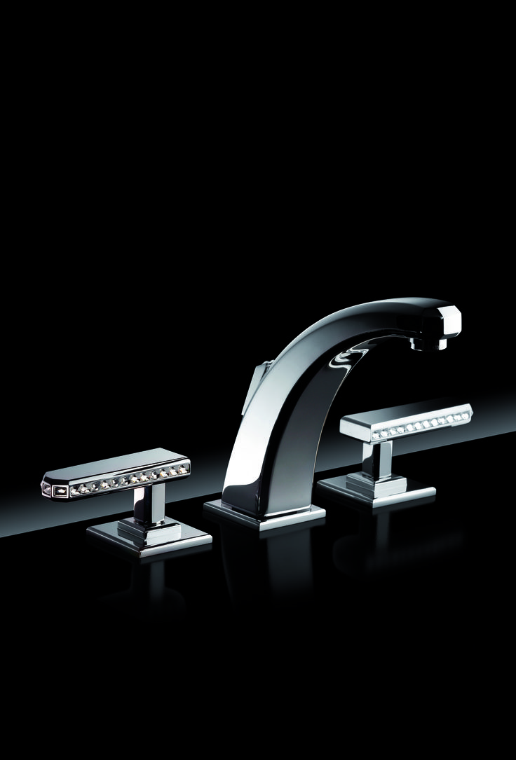 Diva Manette deck mounted washbasin set in chrome finish with Swarovski inserts. #serdaneli #luxurybathroom #bathroomfittings #hardware