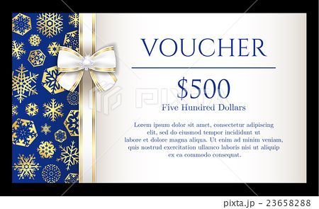 Christmas voucher with golden snowflakes on blue