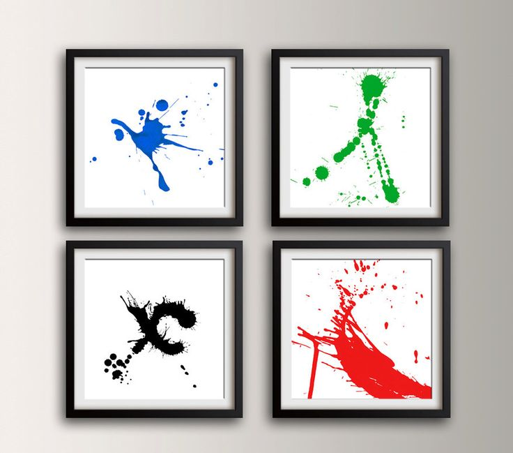 """Abstract Painting - Paint Splat - Set of 4 Square Prints - Blue Green Red and Black - Modern Art - Splatter Art - """" Essential Splat Pack """" by TheModernArtShop on Etsy https://www.etsy.com/listing/206424531/abstract-painting-paint-splat-set-of-4"""