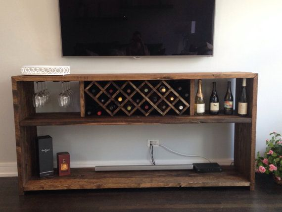 Wine Bar with Bottle Rack and Glass Rack by ThisOldWoodShop