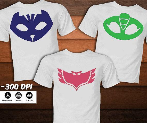 SET Pj Masks Iron on Transfer by KaleidoscopePrintArt on Etsy